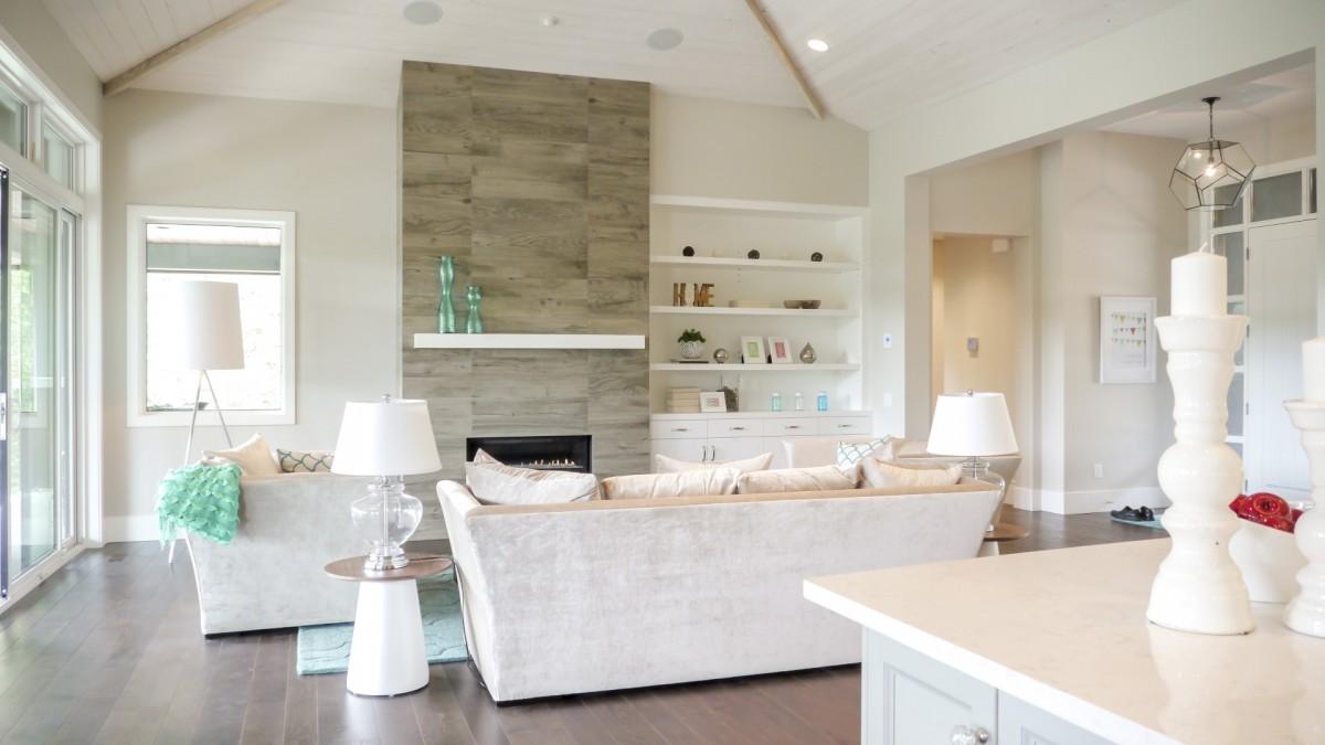 White peaked roof living room