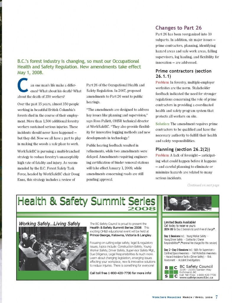 Work Safe Magazine - 2008 pg 7