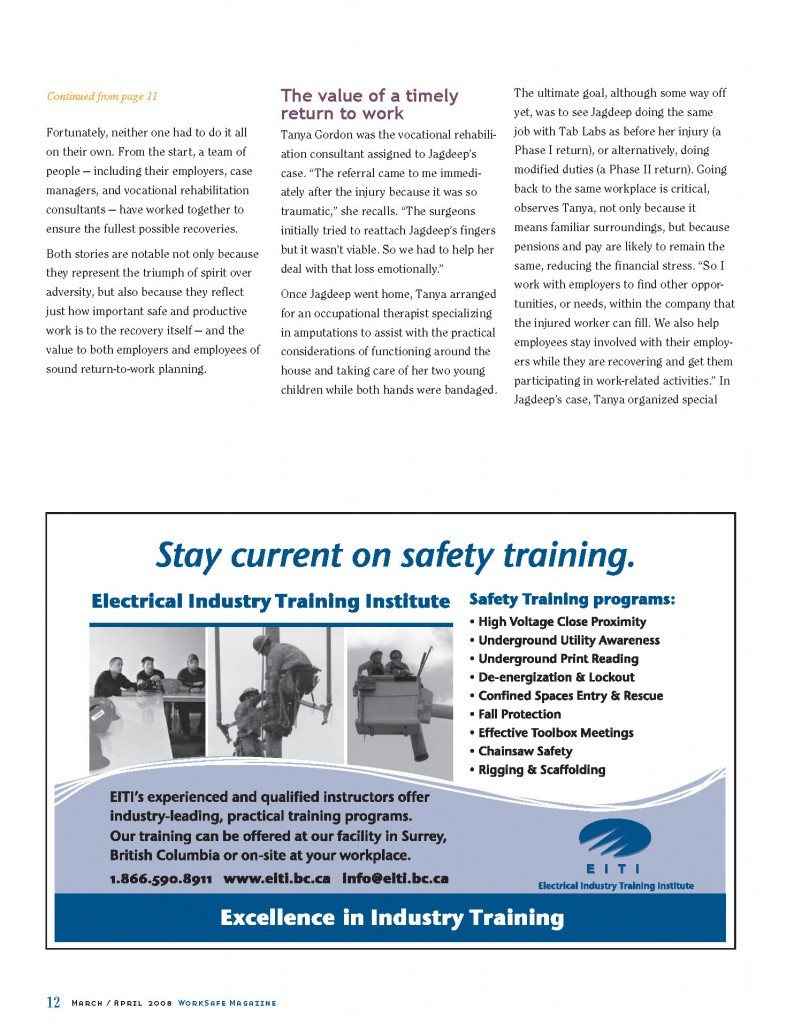 Work Safe Magazine - 2008 pg 12