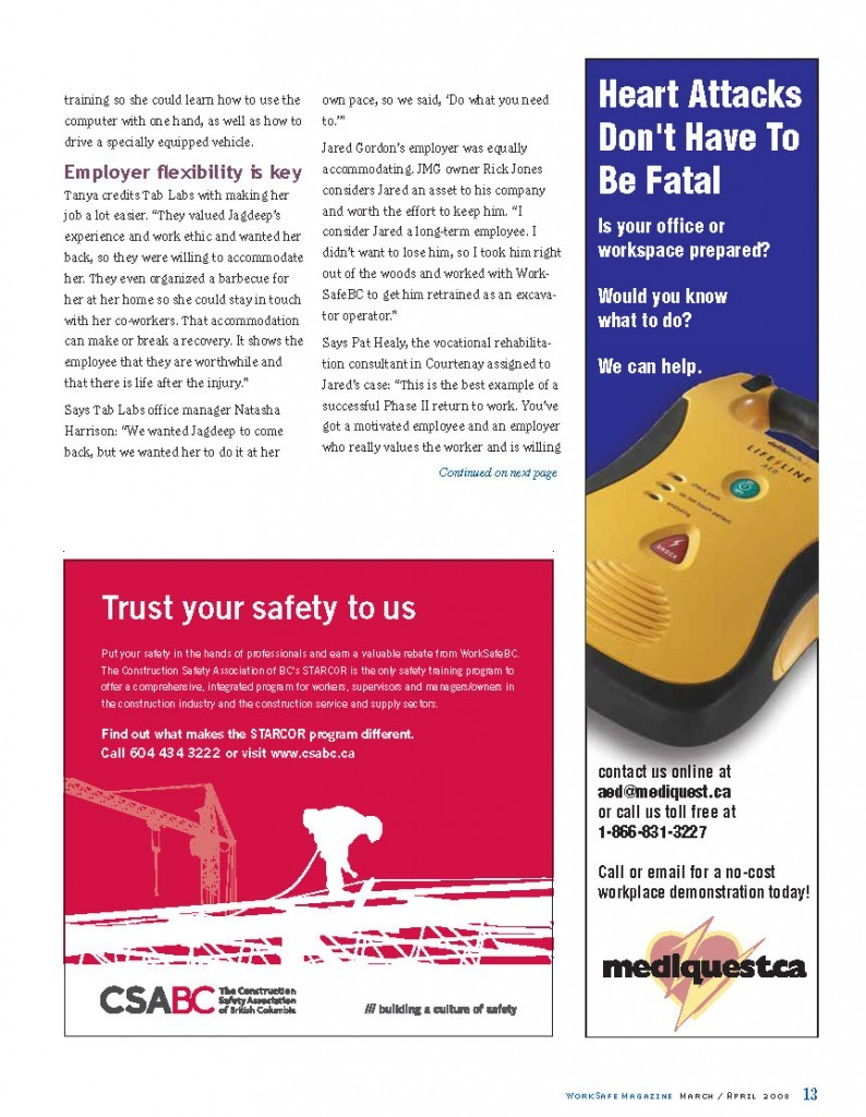 Work Safe Magazine - 2008 pg 13