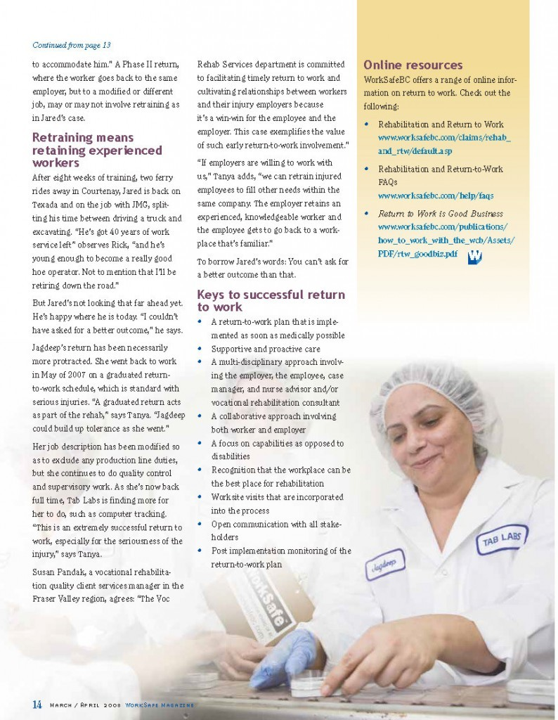 Work Safe Magazine - 2008 pg 14