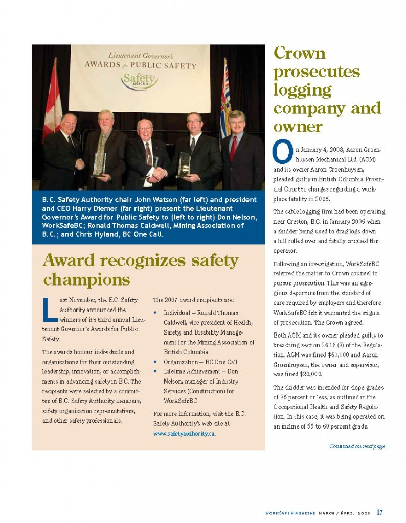 Work Safe Magazine - 2008 pg 17