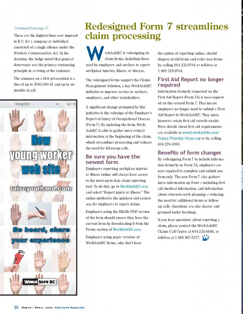Work Safe Magazine - 2008 pg 18