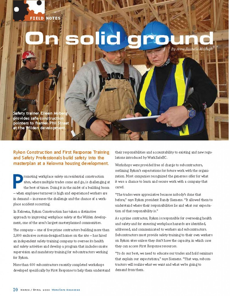 Work Safe Magazine - 2008 pg 20