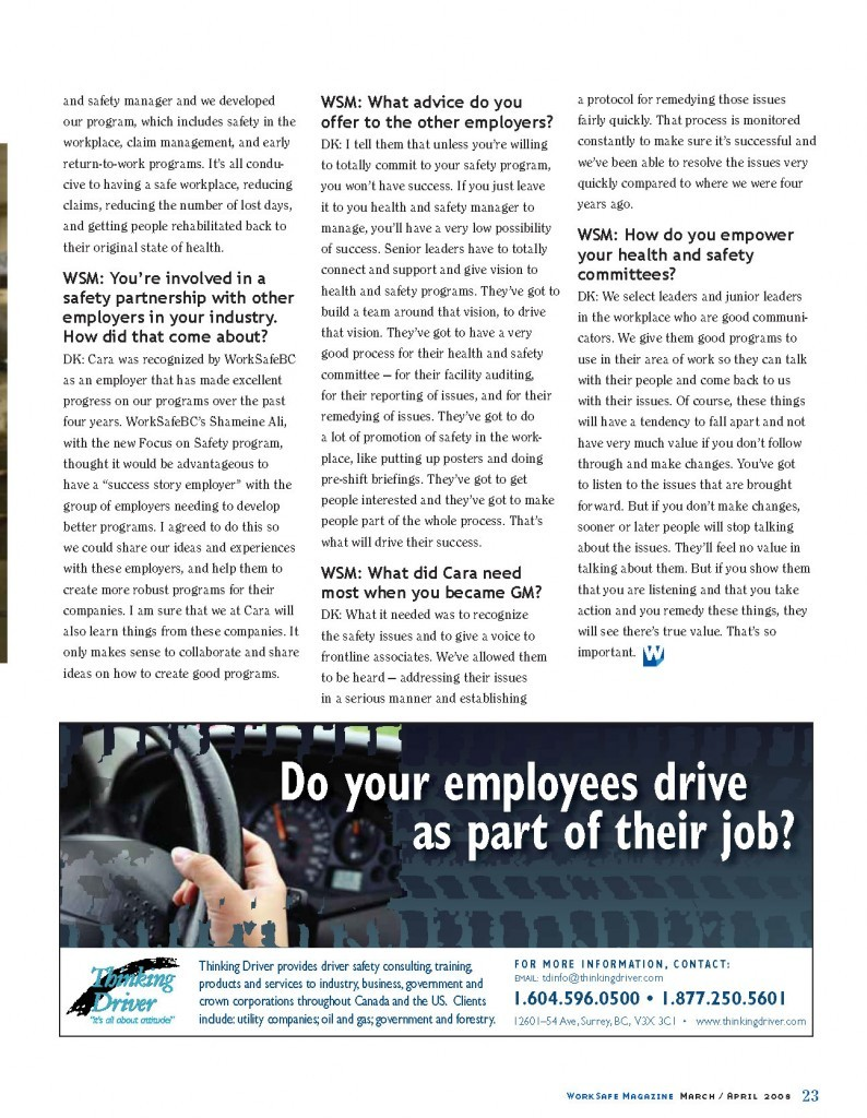 Work Safe Magazine - 2008 pg 23