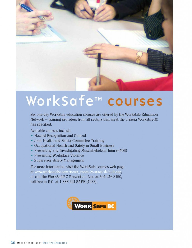 Work Safe Magazine - 2008 pg 26