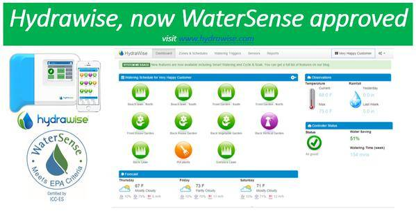Hydrawise is now watersense approved