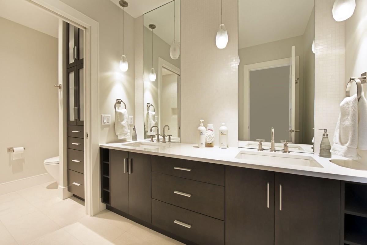 Brown cabinet bathroom