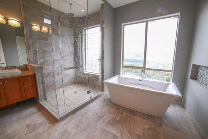 Open shower glass
