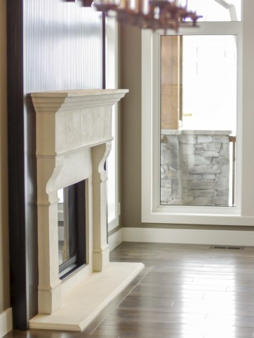 White living room fireplace