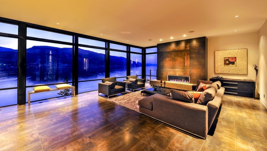Lake view living room