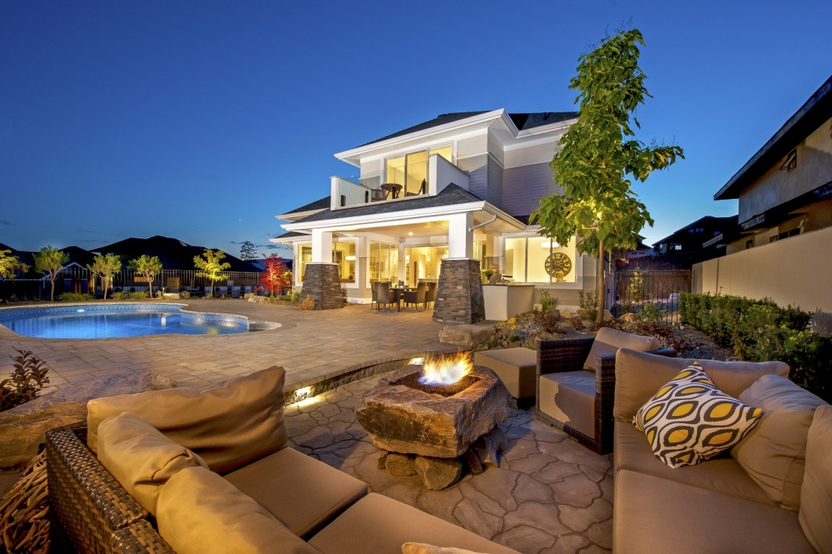 Outdoor living, fireplace and couch