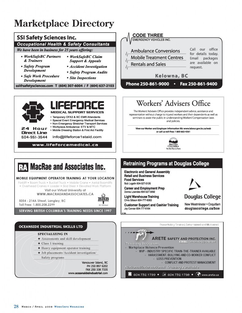 Work Safe Magazine - 2008 pg 28